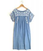 GRACE CONTINENTAL(グレースコンチネンタル)の古着「ヨークフラワー刺繍ワンピース」 インディゴ
