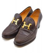 HERMES(エルメス)の古着「コンスタンス ロゴ ヒールローファーパンプス」|ブラウン