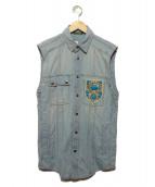 BALMAIN(バルマン)の古着「ターコイズビジューデニムノースリーブシャツ」|ブルー