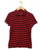 PLEATS PLEASE(プリーツプリーズ)の古着「プリーツポロシャツ」|オレンジ×ネイビー
