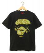 A BATHING APE × KAWS(ア ベイシング エイプ × カウズ)の古着「KAWSコラボBig faceTシャツ」 ブラック
