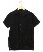1piu1uguale3(ウノピュウノウグァーレトレ)の古着「STRETCHBROADキューバ半袖シャツ」|ブラック