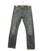 Ron Herman(ロンハーマン)の古着「ダメージ加工セルビッチ ストレート デニム パンツ」|インディゴ