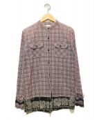 OLD PARK(オールドパーク)の古着「バンダナ切替リメイクシャツ」|ネイビー