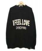 GIVENCHY(ジバンシィ)の古着「I FEEL LOVEロゴニット」|ブラック