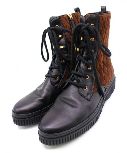 TODS(トッズ)TODS (トッズ) サイドジップブーツ ブラック×ブラウン サイズ:40の古着・服飾アイテム