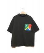 ADANS(アダンス)の古着「モックネックマップTシャツ」 ブラック