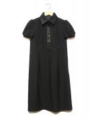 BURBERRY BLACK LABEL(バーバリーブラックレーベル)の古着「サテンカラーワンピース」|ブラック