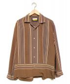 MAISON SPECIAL(メゾンスペシャル)の古着「パッチワークパネルプリントオープンカラーシャツ」|ブラウン