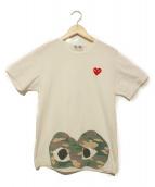 PLAY COMME des GARCONS(プレイコムデギャルソン)の古着「ワッペン付きカモフラハートTシャツ」|ホワイト