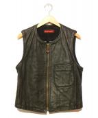 EMPORIO ARMANI(エンポリオアルマーニ)の古着「レザーベスト」 ブラック