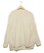 LIVING CONCEPT(リビングコンセプト)の古着「ハーフボタンノーカラーシャツ」|ホワイト