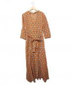 sara mallika(サラマリカ)の古着「コットンリネン総柄ワンピース」|ブラウン
