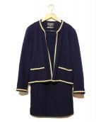CHANEL BOUTIQUE(シャネル ブティック)の古着「ヴィンテージウールセットアップスカート」|ネイビー