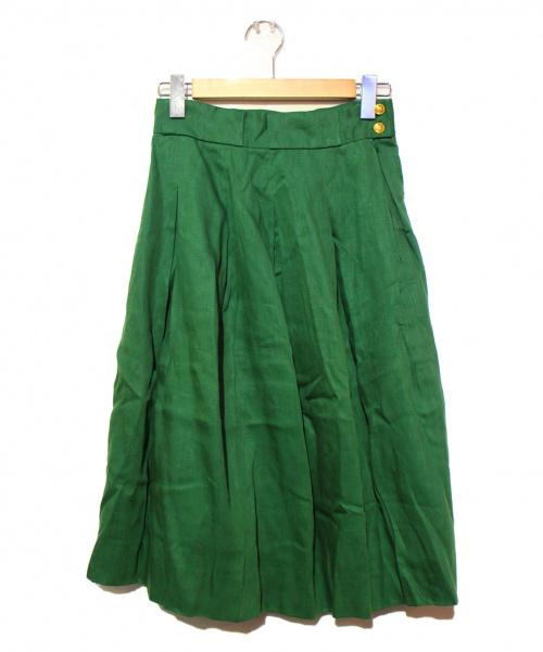 HERMES(エルメス)HERMES (エルメス) ヴィンテ-ジHロゴボタン付きリネンスカート グリーン サイズ:40の古着・服飾アイテム