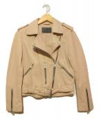 ALL SAINTS(オールセインツ)の古着「レザーライダースジャケット」|ピンク