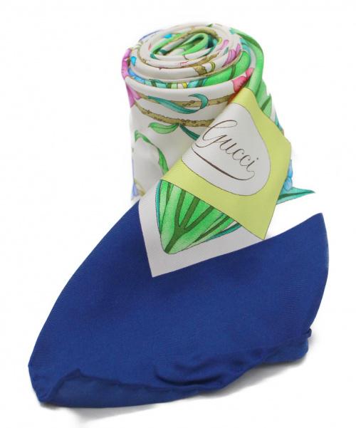 GUCCI(グッチ)GUCCI (グッチ) ヴィンテージフローラルシルクスカーフ ネイビー×ホワイト 未使用品の古着・服飾アイテム