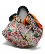 manipuri(マニプリ)の古着「ファーショルダー×スカーフバッグ」 オレンジ×グリーン
