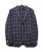 TAGLIATORE(タリアトーレ)の古着「ウールチェックテーラードジャケット」|ネイビー