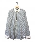 BOSS HUGO BOSS(ボスヒューゴボス)の古着「刺繍ロゴストライプシャツ」|グレー