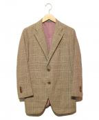 azabu tailor(アザブテーラー)の古着「ウールカシミヤテーラードジャケット」 ブラウン×ベージュ