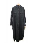 ticca(ティッカ)の古着「ベルト付リネンシャツワンピース」|ブラック