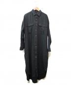 ticca(ティッカ)の古着「ベルト付リネンシャツワンピース」 ブラック
