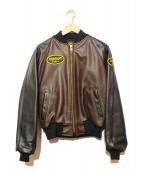 VANSON(バンソン)の古着「レザーブルゾン」|ブラウン×ブラック