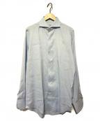 finamore(フィナモレ)の古着「ホリゾンタルカラーシャツ」 ブルー