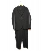 EMPORIO ARMANI(エンポリオアルマーニ)の古着「ラインデザインセットアップスーツ」|ブラック