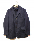 CORNELIANI(コルネリアーニ)の古着「レザー切替2WAYジャケット」|ネイビー