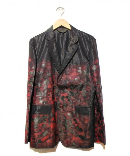 COMME des GARCONS HommePlus(コムデギャルソン オムプリュス)COMME des GARCONS HommePlus (コムデギャルソンオムプリュス) ペンキ加工テーラードジャケット ブラック×レッド サイズ:S AD2008の古着・服飾アイテム