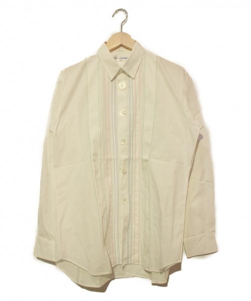 COMME des GARCONS SHIRT(コムデギャルソンシャツ)COMME des GARCONS SHIRT (コムデギャルソンシャツ) フロントステッチビックボタンシャツ ホワイト サイズ:M S17028 08SSの古着・服飾アイテム