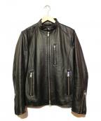 JACKROSE(ジャックローズ)の古着「ラムレザーシングルライダースジャケット」 ブラック