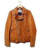 SEVESKIG(セヴシグ)の古着「カーフレザーライダースジャケット」|ブラウン