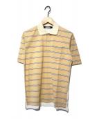 ()の古着「切替ポロシャツ」 ベージュ×ホワイト