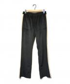 EMPORIO ARMANI(エンポリオアルマーニ)の古着「ベロアトラックパンツ」|ブラック×ホワイト