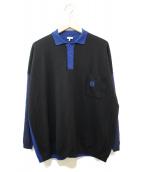 LOEWE(ロエベ)の古着「ロゴ刺繍ポロシャツ」|ブルー×ブラック