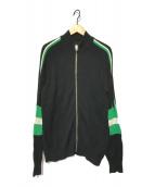 ()の古着「袖ラインジップアップニトジャケット」|ブラック