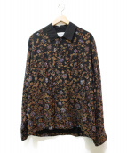 TOMORROW LAND(トゥモローランド)の古着「フラワープリントシャツジャケット」 ブラック×ブラウン