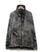 HERMES(エルメス)の古着「レザーパイピングハイネック総柄ブルゾン」|ブラック×ホワイト