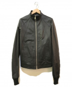 RICK OWENS(リックオウエンス)の古着「スタンドカラーレザージャケット」|ブラック