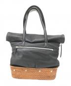 kawa-kawa(カワカワ)の古着「カゴレザートートバッグ」|ブラック