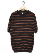 KAPTAIN SUNSHINE()の古着「クルーネックニットボーダーT」 ブラック×オレンジ