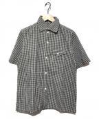 CORONA(コロナ)の古着「リネン混ギンガムチェック半袖シャツ」|ネイビー×ホワイト
