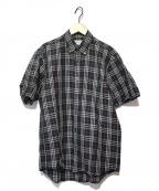 Burberrys()の古着「S/Sリネンシャツ」 ネイビー×レッド