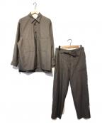 PUBLIC TOKYO(パブリックトウキョウ)の古着「アクアウールサマーシルキースムースシャツセットアップ」|ブラウン