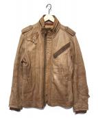 AVIREX(アヴィレックス)の古着「ラムレザージャケット」|ベージュ
