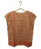 群言堂 根々(グンゲンドウ ネネ)の古着「リネンたこ刺繍ブラウス」|レッド