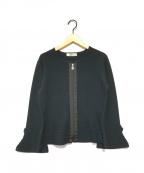 GALLERY VISCONTI(ギャラリービスコンティ)の古着「ベルスリーブニットジャケット」|ブラック